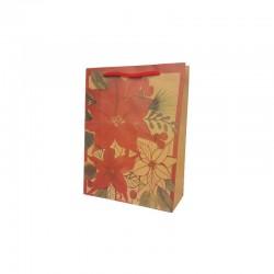 12 sacs papier kraft brun naturel motif fleur de noël 15x6x20cm
