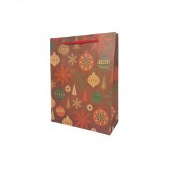12 sacs papier kraft rouge motif boules de noël et fleurs 15x6x20cm