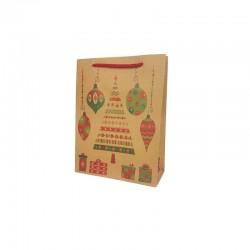 12 sacs papier kraft brun naturel motif sapin et boules de noël 15x6x20cm