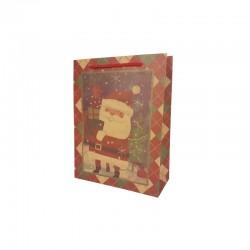 12 sacs papier kraft brun naturel motif Père noël rouge 15x6x20cm