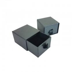 24 petits écrins gris anthracite à tiroir pour bague ou boucles d'oreilles 5x5cm