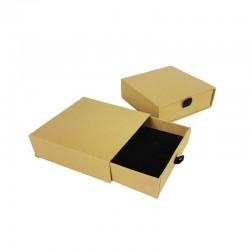 12 écrins cadeaux tiroir kraft naturel pour parure 9x9cm