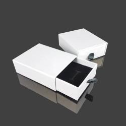 12 écrins bijoux tiroir blancs pour parure 7x9cm