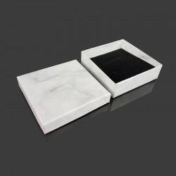 12 écrins à bijoux aspect marbre gris clair 9x9cm