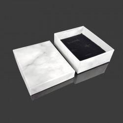 12 écrins pour parure aspect marbre gris clair 7x9cm