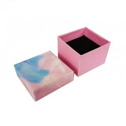 24 petits écrins pour bagues motif marbré bleu et rose 5x5cm