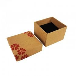 24 petits écrins pour bagues de couleur kraft naturel à fleurs rouge 5x5cm