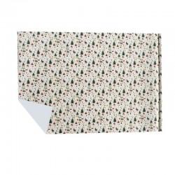 Lot de 2 rouleaux de papier cadeaux écru motif sapins de noël 70x100cm