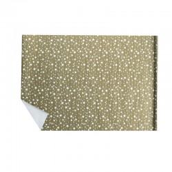 Lot de 2 rouleaux de papier cadeaux doré motif étoiles et flocons blancs 70x100cm