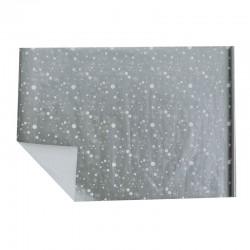 Lot de 2 rouleaux de papier cadeaux argenté motif étoiles et flocons blancs 70x100cm
