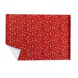 Lot de 2 rouleaux de papier cadeaux rouge motif étoiles et flocons de noël blancs 70x100cm