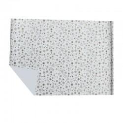 Lot de 2 rouleaux de papier cadeaux blanc motif étoiles et flocons de noël dorés 70x100cm
