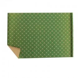 Lot de 2 rouleaux de papier cadeaux vert motif tête de rennes 70x100cm