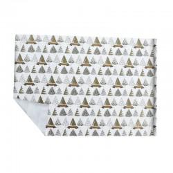 Lot de 2 rouleaux de papier cadeaux blancs motif sapins de noël dorés 70x100cm