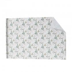 Lot de 2 rouleaux de papier cadeaux blancs motif arbre noël doré 70x100cm