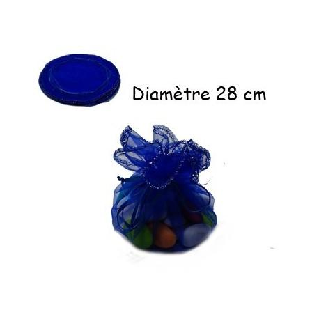 100 bourses organza bleu nuit rondes - 3624