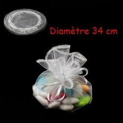 100 bourses organza blanches rondes - 3631