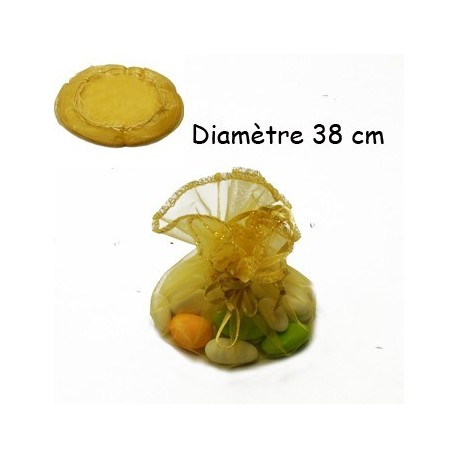 100 bourses organza jaune or rondes - 3635