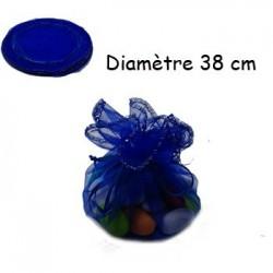 100 bourses organza bleu nuit rondes - 3636