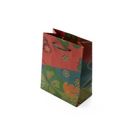 12 sacs cabas kraft vert fleurs sac cadeaux papier kraft pas cher. Black Bedroom Furniture Sets. Home Design Ideas