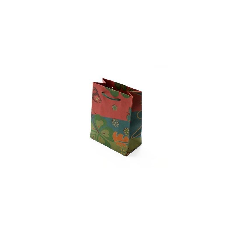 12 sacs cabas kraft vert fleurs sac cadeaux papier. Black Bedroom Furniture Sets. Home Design Ideas