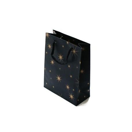 12 sacs cabas en papier kraft bleu nuit motifs étoiles 20x14.5x5.5cm - 5934
