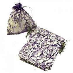100 bourses organza couleur violet prune avec motifs argentés 8x7cm - 2686