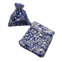 100 bourses cadeaux organza couleur bleu nuit avec motifs argentés 11x10 - 2696