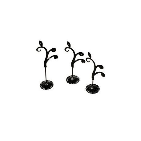 3 arbres à bijoux métal noir - 4814