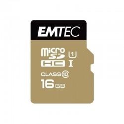 MicroSDHC 16Go EMTEC +Adapter CL10 Gold - 4854