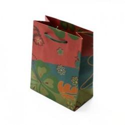 12 Sacs en papier kraft vert décorés fleurs et trèfles 33x24x8cm - 5063