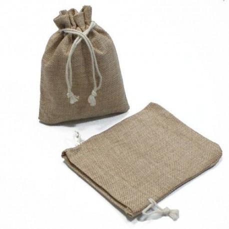 10 Pochettes en jute de couleur beige sable 8x7 cm - 5264