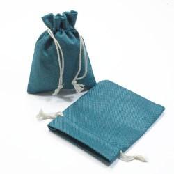 10 bourses cadeaux en jute de couleur bleu pétrole - 5266