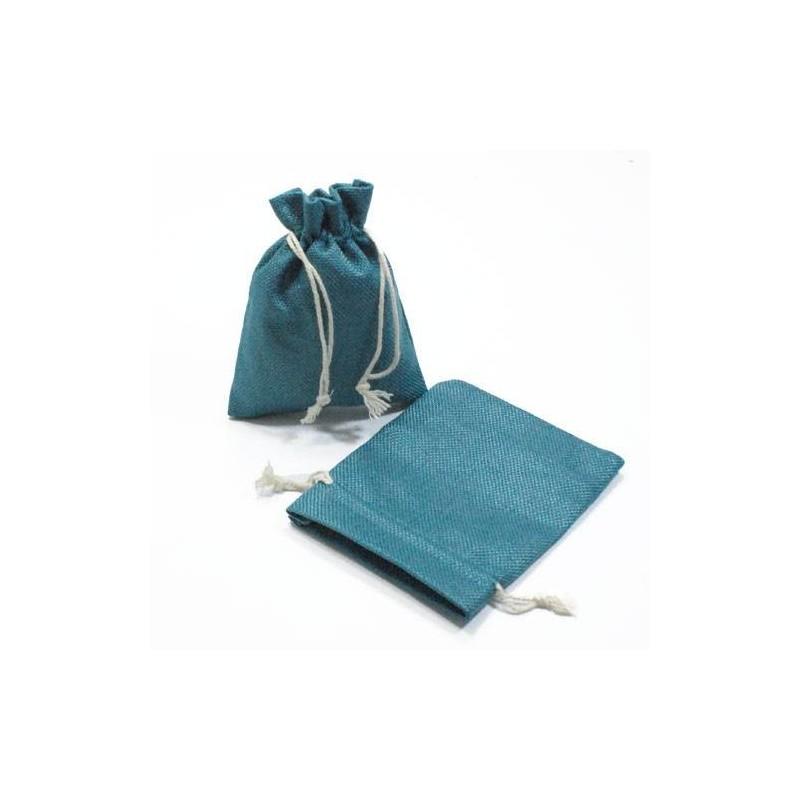 10 bourses cadeaux en toile de jute bleu p trole sac en jute pas cher. Black Bedroom Furniture Sets. Home Design Ideas