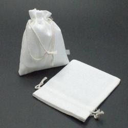 10 bourses cadeaux en jute de couleur blanc 8x7cm - 5269