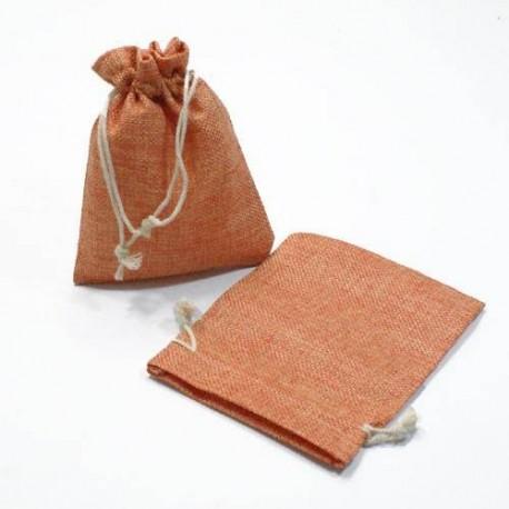 10 bourses en cadeaux en jute de couleur orange 8x7cm - 5271