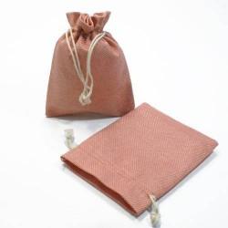 10 bourses cadeaux en jute de couleur vieux rose 8x7cm - 5274