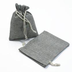 10 bourses cadeaux en jute de couleur gris 8x7cm - 5275