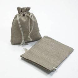 10 bourses cadeaux en toile de jute beige 11x10cm - 5277