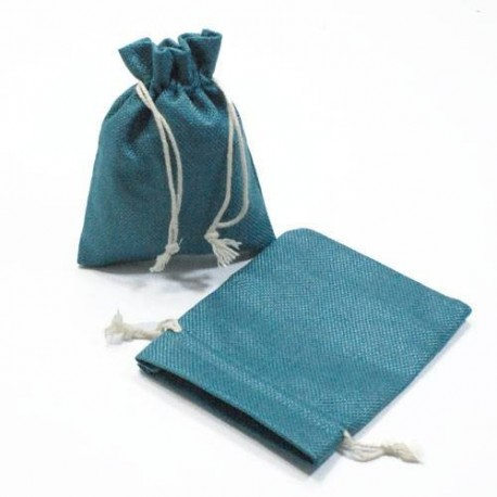 10 bourses cadeaux en toile de jute bleu pétrole 11x10cm - 5278
