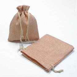 10 bourses cadeaux en toile de jute rose clair 11x10cm - 5279