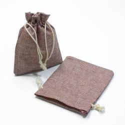 10 bourses cadeaux en toile de jute violet prune 11x10cm - 5282