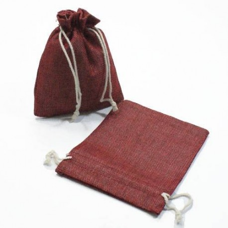 10 bourses cadeaux en toile de jute rouge bordeaux 11x10cm - 5284