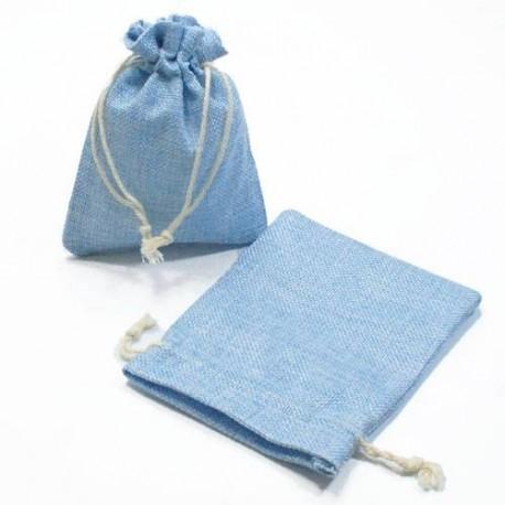 10 bourses cadeaux en toile de jute bleu ciel 11x10cm - 5285