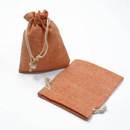 10 pochettes orange en toile de jute grossiste sachets jute pas cher. Black Bedroom Furniture Sets. Home Design Ideas