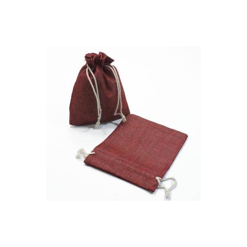 10 pochettes rouge bordeaux en toile de jute grossiste sachets jute. Black Bedroom Furniture Sets. Home Design Ideas