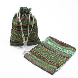 10 bourses cadeaux en coton à rayures vert sapin 8x7cm - 5313