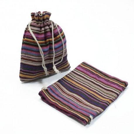 10 bourses cadeaux en coton à rayures multicolores 8x7cm - 5314