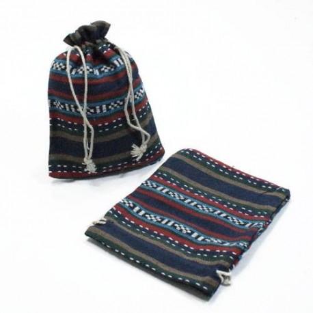 10 bourses cadeaux en coton à rayures bleu marine 8x7cm - 5315