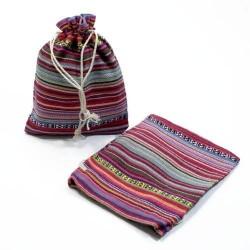 10 bourses en tissu coton à rayures rose magenta 11x10cm - 5318